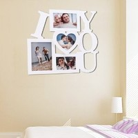 "Amazon.com: 4 Opening Photo Picture Frame - 12AD002 ADECO - Wall Art, Wall Collage ,""I LOVE YOU"" Design, Holds One 5""x7"", One 6""x4"", One 5""x3.5"" and One 5""x4.5"" Inch Photos Great Gift,Wooden,White: Home & Kitchen"