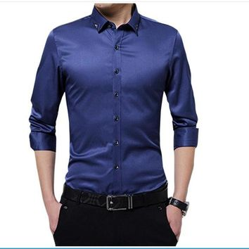 Men's Single Breasted Long-Sleeve Solid Color Shirt