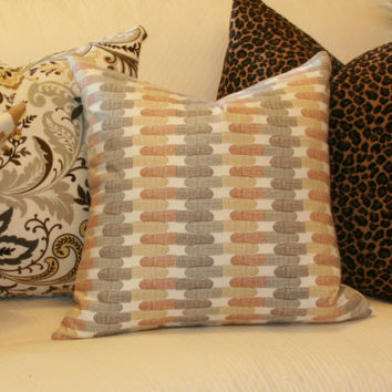 "Tan & grey modern decorative throw pillow cover. 18"" x 18"" toss pillow cover."