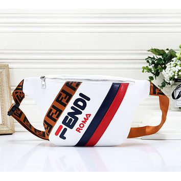 Fendi Fashion New Letter Print Shopping Leisure Shoulder Bag Women White