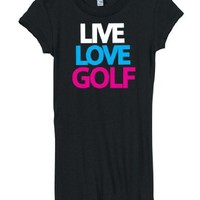 Juniors Live Love Golf Black Short Sleeve T-Shirt