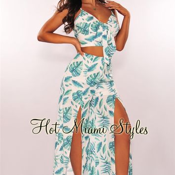 White Green Palm Print Tie Up Palazzo Two Piece Set