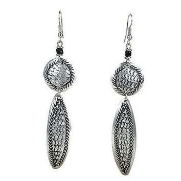 Stamped Recycled Cooking Pot 'Feather' Earrings
