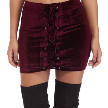 Red Lace Up Velvet Mini Skirt