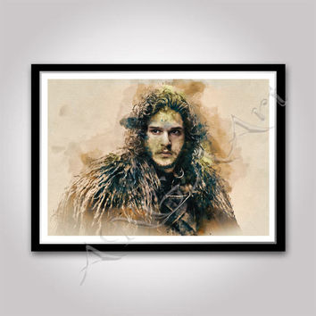 Jon Snow Game of thrones Instant Download Digital Print Wall art Watercolor poster Jon Snow poster Kit Harington poster Game of thrones