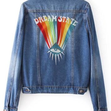 Eye rainbow heavy industry embroidery lapel denim jacket