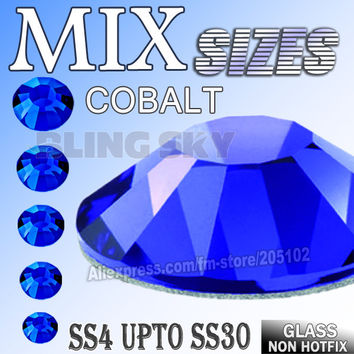 Mix Sizes Cobalt Dark Blue Nail Art Rhinestones SS4 SS6 SS8 SS10 SS12 SS16 SS20 SS30 for DIY strass glitters Non HotFix crystals