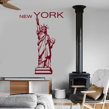 Wall Vinyl Decal New York Statue Of Liberty Big Apple Decor Unique Gift z3963