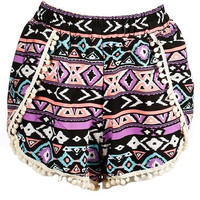 Multi Aztec PomPom Shorts