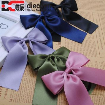 ESBONJ 2piece classic solid korean style silk satin ribbon bows elastics rubber bands hair rope hair tie accessories for women 20 color