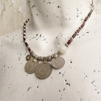 Nomadic Talisman Necklace - Tribal Gypsy, Coin Jewelry, Belly Dance, Garnet and Jade