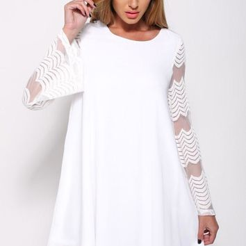 Flared Sleeves O Neck Double Layered White Shift Dress