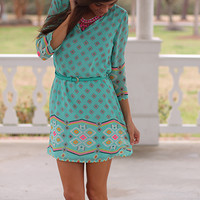 Western Impression Dress, Mint