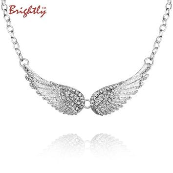 Brightly Trendy Angel Wings Choker Necklace Luxury Rhinestones Pendants Necklaces for Women Collar Fashion Drop shipping Free