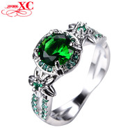 925 Sterling Silver Emerald Ring Vintage Star Flower Rings for Women Men White Gold Filled Green Zircon Wedding Jewelry RW1412