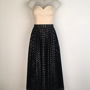 COVERS!!! Vintage 1980s 'Covers' full circle striped evening skirt with side pockets