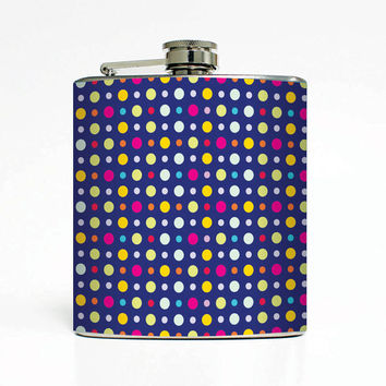 Polka Dots Designer 6 Oz Liquor Stainless Steel Hip Flask Weddings Groomsmen Bridesmaids Gift Whiskey Flask
