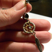 Native Inspired Silver Plated Dream catcher Belly Ring     (br008)