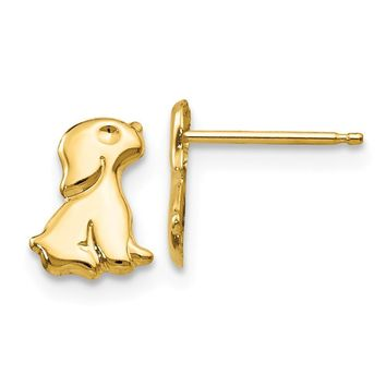 Kids Sitting Dog Friction Back Post Earrings in 14k Yellow Gold
