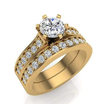 CERTIFIED 1.25 ct tw Cathedral Diamond Accented Bridal Wedding Ring Set in 14K Gold