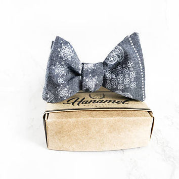 Hanamel Handcrafted Dungaree Baby Self Tie Bow Tie - Denim Blue Self Tie Bow Tie - Beach Wedding Blue Linen Bow Tie - Sailor Wedding