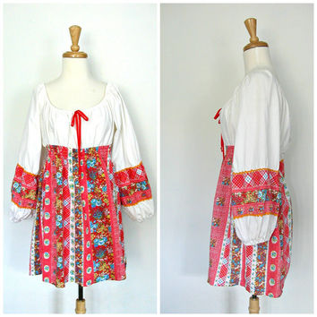 1970s Boho Shirt / peasant blouse / off the shoulder / gypsy top / poet blouse / summer shirt / womens top / medium large