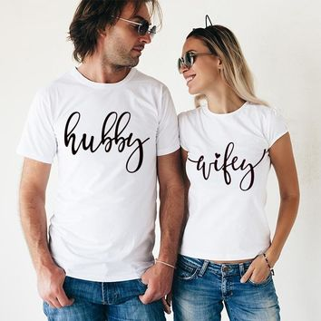 Hubby Wifey Shirts, Crew Neck Couples Shirts