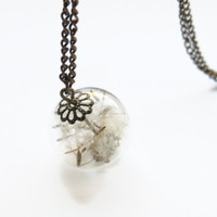 Dandelion necklace, glass globe orb pendant,  make a wish necklace, glass ball jewelry, Antique brass style