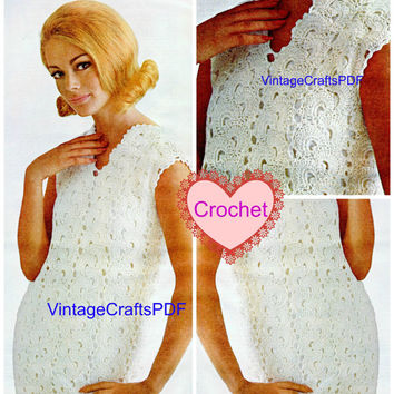 60s Vintage Crochet Pattern - Spanish Fans Sheath Dress  - Wedding Dress-Special Ocassion-Easy-fit Shift Dress-Mad Men - Direct from USA