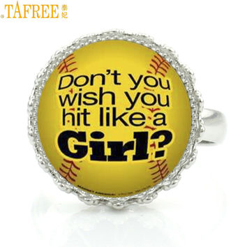"Softball glass crown ring jewelry ""Dont you Wish You Hit Like a Girl?"""
