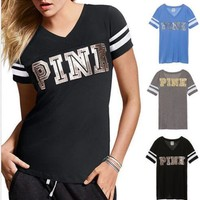 One-nice™ Victoria's Secret PINK Fashion Gold Logo Short Sleeve T-Shirt Top Tee