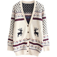 Cardigan Christmas Sweaters White Pretty Womens Snowflake Elk