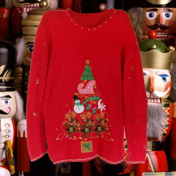 Ugly Christmas Sweater Plus Size Sweater Tacky Christmas Sweater Holiday Sweater Ladies Sweater Red Sweater Men Ugly Christmas Sweater