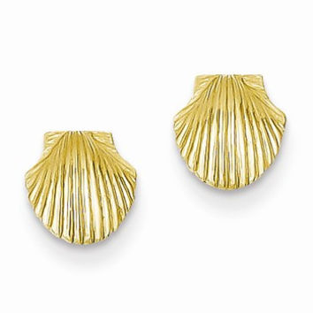 14k Yellow Gold Mini Scallop Shell Post Earrings