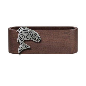 Wooden Business Card Holder with Fine Pewter Salmon Emblem