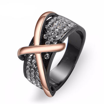 Rose Gold/Gun Plated Cross Finger Ring Rhinestone Cocktail / Engagement Ring