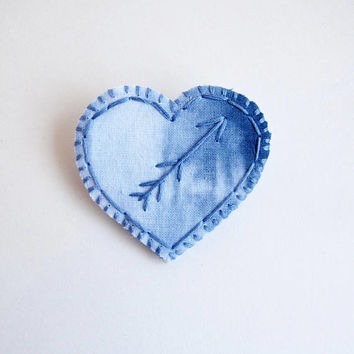Embroidered heart brooch on shibori dyed indigo fabric wool and cotton felt backing Textile jewelry Valentines Day An Astrid Endeavor
