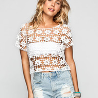 H.I.P. Daisy Crochet Womens Crop Top White  In Sizes