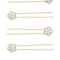 4 x Mother of Pearl Crystal Flower Hair Pins | Nude | Accessorize