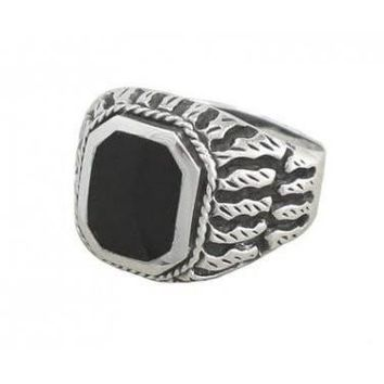 925 Sterling Silver Men's Exotic Scrollwork Black Genuine Onyx Thick Ring
