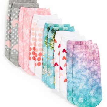 Girl's Ruby & Bloom Sublimation Print Low Cut Socks (6-Pack)