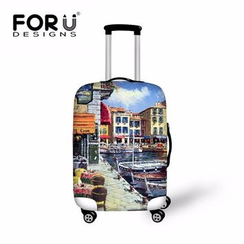 FORUDESIGNS Landscape Print Luggage Protective Covers For 18 - 28 Inch Suitcase Anti-dust Retro Architecture Brand Hot Covers