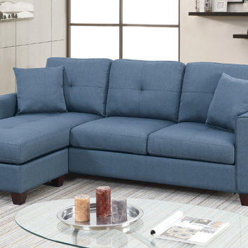 Poundex F6573 2 pc leta blue glossy polyfiber fabric apartment size sectional sofa with reversible chaise