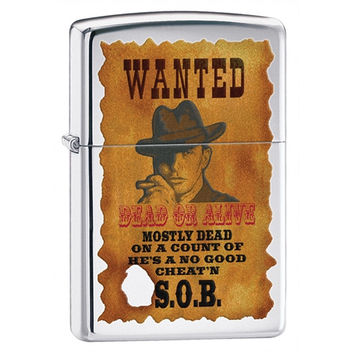 Zippo Wanted Poster High Polish Chrome Lighter