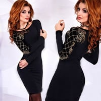 Fashion Women Cocktail Party Short Dress Sexy Ladies Long Sleeve Slim Bodycon Pencil Dresses New