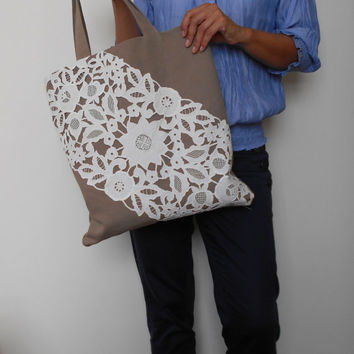 Canvas Tote Bag Light Brown, Lace Tote Bag, Summer Tote Bag, White Lace Bag, Brown Shoulder Bag