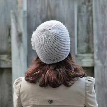 Ladies hat with crochet flower, Women Winter Beanie in White - Chunky beret