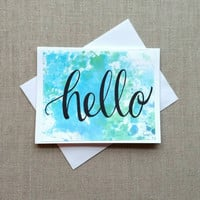 """Set of 5 hand lettered note cards, watercolored set of 5 greeting cards, """"tie dye"""" hello notecards, stationary set of five """"hello"""" cards."""