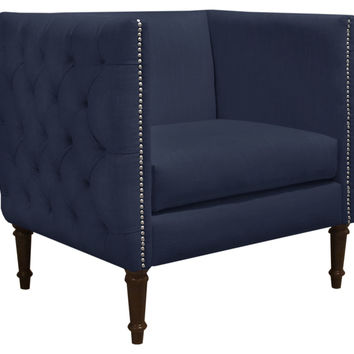 Aldridge Tufted Club Chair, Navy, Club Chairs