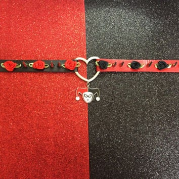 Harley Quinn Red and Black Heart Faux Leather Choker, Custom Choker, Harley Quinn Vegan Choker, Spike Rose Choker, Spiked Choker, Joker
